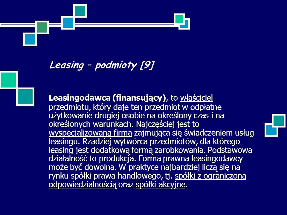 Leasing – podmioty [9]